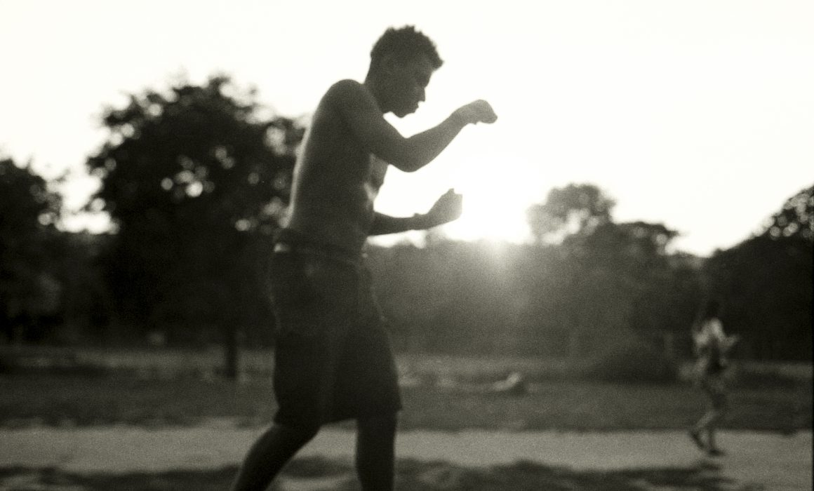 Workout in the park at sunset